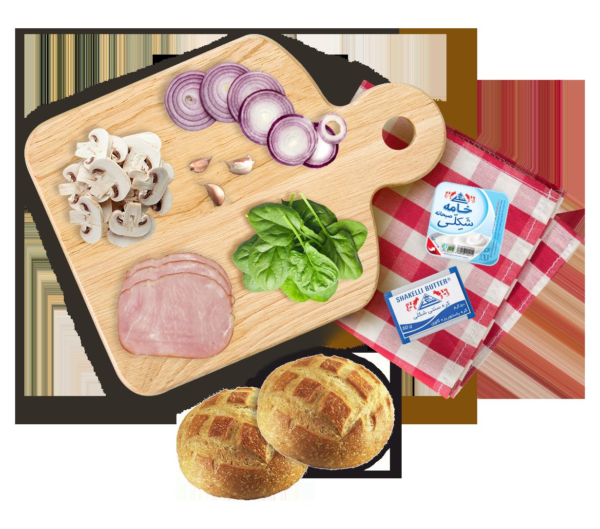 اسلایدر اسفناج و ژامبون مرغ   Spinach and chicken slider